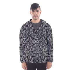 Black and White Tribal Pattern Hooded Wind Breaker (Men)