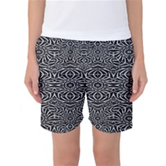 Black and White Tribal Pattern Women s Basketball Shorts