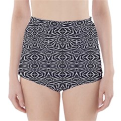 Black and White Tribal Pattern High-Waisted Bikini Bottoms