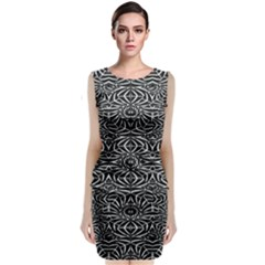 Black And White Tribal Pattern Classic Sleeveless Midi Dress