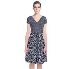 Black And White Tribal Pattern Short Sleeve Front Wrap Dress