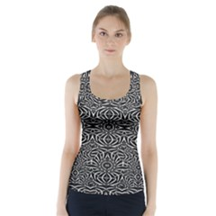 Black And White Tribal Pattern Racer Back Sports Top