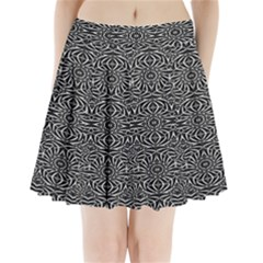 Black and White Tribal Pattern Pleated Mini Skirt