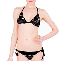 I Wasn t Good This Year, I Was Awesome! Ugly Holiday Christmas Black Background Bikini Set