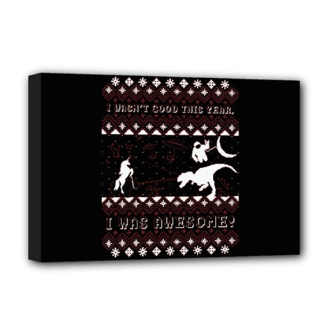 I Wasn t Good This Year, I Was Awesome! Ugly Holiday Christmas Black Background Deluxe Canvas 18  x 12