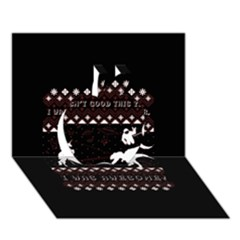 I Wasn t Good This Year, I Was Awesome! Ugly Holiday Christmas Black Background Apple 3d Greeting Card (7x5)