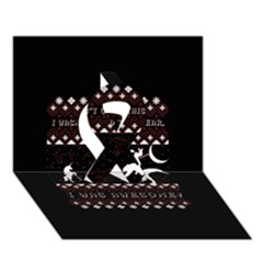 I Wasn t Good This Year, I Was Awesome! Ugly Holiday Christmas Black Background Ribbon 3D Greeting Card (7x5)