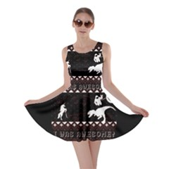 I Wasn t Good This Year, I Was Awesome! Ugly Holiday Christmas Black Background Skater Dress