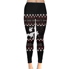 I Wasn t Good This Year, I Was Awesome! Ugly Holiday Christmas Black Background Leggings