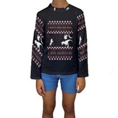 I Wasn t Good This Year, I Was Awesome! Ugly Holiday Christmas Black Background Kids  Long Sleeve Swimwear