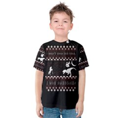 I Wasn t Good This Year, I Was Awesome! Ugly Holiday Christmas Black Background Kids  Cotton Tee