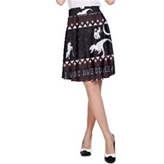 I Wasn t Good This Year, I Was Awesome! Ugly Holiday Christmas Black Background A-Line Skirt