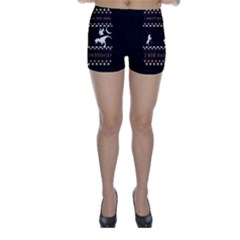 I Wasn t Good This Year, I Was Awesome! Ugly Holiday Christmas Black Background Skinny Shorts