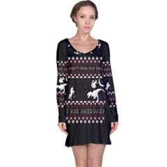 I Wasn t Good This Year, I Was Awesome! Ugly Holiday Christmas Black Background Long Sleeve Nightdress