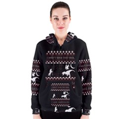 I Wasn t Good This Year, I Was Awesome! Ugly Holiday Christmas Black Background Women s Zipper Hoodie