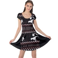 I Wasn t Good This Year, I Was Awesome! Ugly Holiday Christmas Black Background Cap Sleeve Dresses