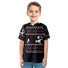 I Wasn t Good This Year, I Was Awesome! Ugly Holiday Christmas Black Background Kids  Sport Mesh Tee
