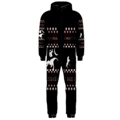 I Wasn t Good This Year, I Was Awesome! Ugly Holiday Christmas Black Background Hooded Jumpsuit (Men)