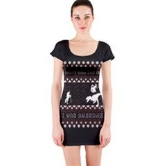I Wasn t Good This Year, I Was Awesome! Ugly Holiday Christmas Black Background Short Sleeve Bodycon Dress