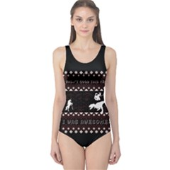I Wasn t Good This Year, I Was Awesome! Ugly Holiday Christmas Black Background One Piece Swimsuit