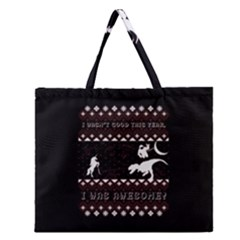 I Wasn t Good This Year, I Was Awesome! Ugly Holiday Christmas Black Background Zipper Large Tote Bag