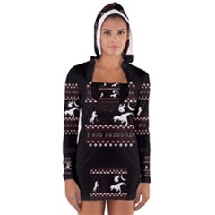 I Wasn t Good This Year, I Was Awesome! Ugly Holiday Christmas Black Background Women s Long Sleeve Hooded T-shirt