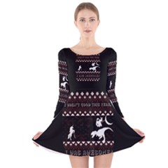 I Wasn t Good This Year, I Was Awesome! Ugly Holiday Christmas Black Background Long Sleeve Velvet Skater Dress