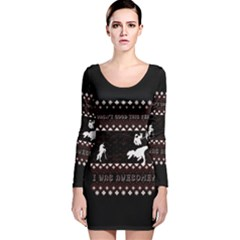 I Wasn t Good This Year, I Was Awesome! Ugly Holiday Christmas Black Background Long Sleeve Velvet Bodycon Dress