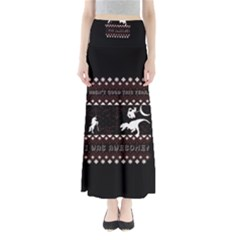 I Wasn t Good This Year, I Was Awesome! Ugly Holiday Christmas Black Background Maxi Skirts