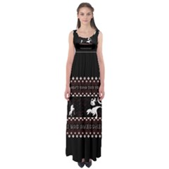 I Wasn t Good This Year, I Was Awesome! Ugly Holiday Christmas Black Background Empire Waist Maxi Dress
