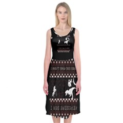 I Wasn t Good This Year, I Was Awesome! Ugly Holiday Christmas Black Background Midi Sleeveless Dress
