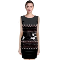 I Wasn t Good This Year, I Was Awesome! Ugly Holiday Christmas Black Background Classic Sleeveless Midi Dress