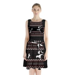 I Wasn t Good This Year, I Was Awesome! Ugly Holiday Christmas Black Background Sleeveless Chiffon Waist Tie Dress
