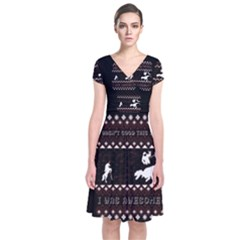 I Wasn t Good This Year, I Was Awesome! Ugly Holiday Christmas Black Background Short Sleeve Front Wrap Dress