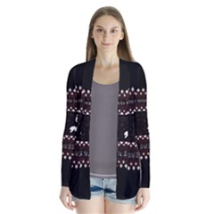I Wasn t Good This Year, I Was Awesome! Ugly Holiday Christmas Black Background Drape Collar Cardigan