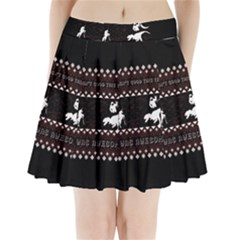 I Wasn t Good This Year, I Was Awesome! Ugly Holiday Christmas Black Background Pleated Mini Skirt