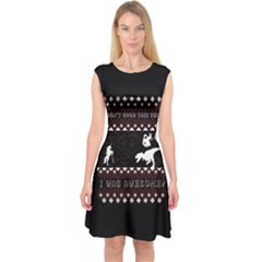 I Wasn t Good This Year, I Was Awesome! Ugly Holiday Christmas Black Background Capsleeve Midi Dress