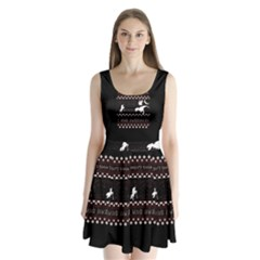 I Wasn t Good This Year, I Was Awesome! Ugly Holiday Christmas Black Background Split Back Mini Dress