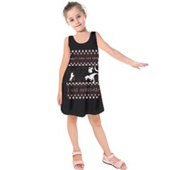 I Wasn t Good This Year, I Was Awesome! Ugly Holiday Christmas Black Background Kids  Sleeveless Dress