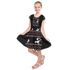 I Wasn t Good This Year, I Was Awesome! Ugly Holiday Christmas Black Background Kids  Short Sleeve Dress