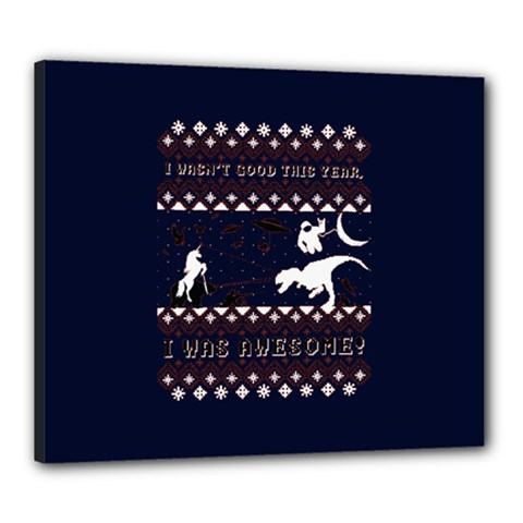 I Wasn t Good This Year, I Was Awesome! Ugly Holiday Christmas Blue Background Canvas 24  x 20