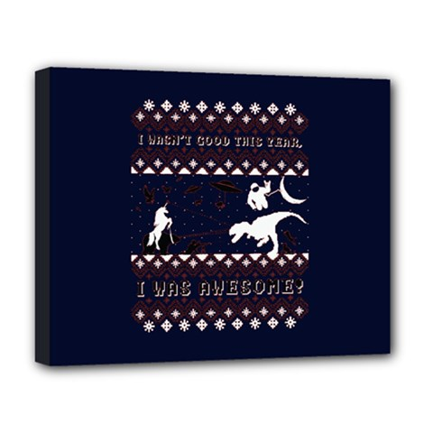 I Wasn t Good This Year, I Was Awesome! Ugly Holiday Christmas Blue Background Deluxe Canvas 20  X 16