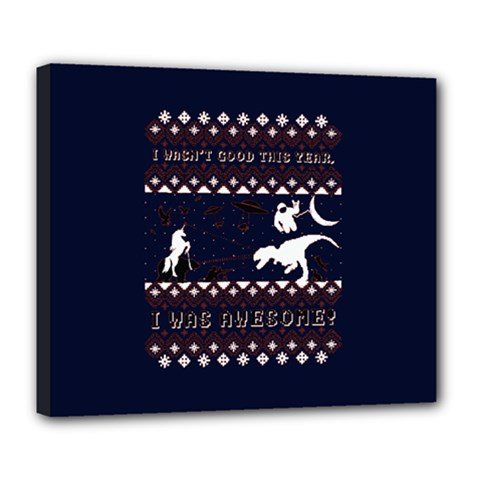 I Wasn t Good This Year, I Was Awesome! Ugly Holiday Christmas Blue Background Deluxe Canvas 24  x 20