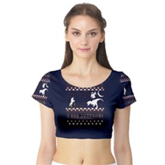 I Wasn t Good This Year, I Was Awesome! Ugly Holiday Christmas Blue Background Short Sleeve Crop Top (Tight Fit)