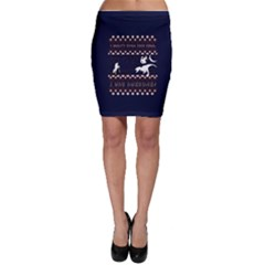 I Wasn t Good This Year, I Was Awesome! Ugly Holiday Christmas Blue Background Bodycon Skirt