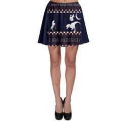 I Wasn t Good This Year, I Was Awesome! Ugly Holiday Christmas Blue Background Skater Skirt