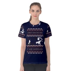 I Wasn t Good This Year, I Was Awesome! Ugly Holiday Christmas Blue Background Women s Cotton Tee