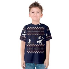 I Wasn t Good This Year, I Was Awesome! Ugly Holiday Christmas Blue Background Kids  Cotton Tee
