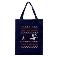 I Wasn t Good This Year, I Was Awesome! Ugly Holiday Christmas Blue Background Classic Tote Bag