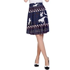 I Wasn t Good This Year, I Was Awesome! Ugly Holiday Christmas Blue Background A-Line Skirt